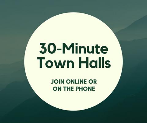 "Graphic that says ""30-minute town halls. Join online or by telephone."""